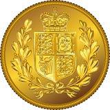 Vector Brits geld gouden muntstuk Soeverein met het wapenschild Royalty-vrije Stock Afbeeldingen