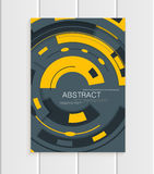 Vector brochure in abstract style with yellow shapes on gray background Royalty Free Stock Image