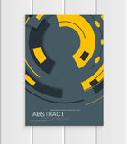 Vector brochure in abstract style with yellow shapes on gray background Stock Image