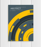 Vector brochure in abstract style with yellow shapes on gray background Stock Photos