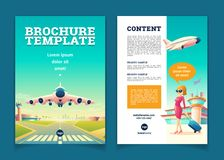 Vector brochure with airplane takeoff, tourism booklet. Vector brochure template with airplane takeoff. Travel or tourism concept, girl with baggage on leaflet royalty free illustration