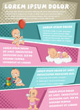 Vector brochure backgrounds with cartoon baby wearing diaper. Cute toddler. Infographic template design royalty free illustration