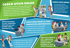 Vector brochure backgrounds with cartoon business people working on office Royalty Free Stock Images