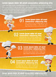 Vector brochure backgrounds with cartoon chefs cooking and holding tray with food. Royalty Free Stock Image