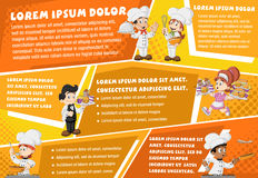 Vector brochure backgrounds with cartoon chefs cooking Stock Image
