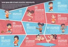 Vector brochure backgrounds with cartoon children. Stock Photo