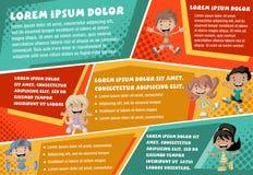 Vector brochure backgrounds with cartoon children. Stock Photos
