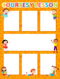 Vector brochure backgrounds with cartoon children. Infographic template design. Royalty Free Stock Photography