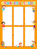 Vector brochure backgrounds with cartoon children. Infographic template design. Royalty Free Stock Photo