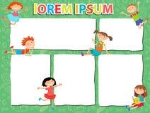 Vector brochure backgrounds with cartoon children. Infographic template design. Stock Image