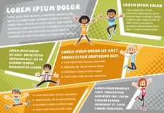 Vector brochure backgrounds with cartoon children. Infographic template design Stock Photos