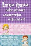 Vector brochure backgrounds with cartoon children in pajamas brushing teeth Stock Photos
