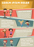 Vector brochure backgrounds with cartoon family. Royalty Free Stock Photo