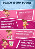 Vector brochure backgrounds with cartoon girl playing. Royalty Free Stock Image