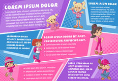 Vector brochure backgrounds with cartoon girls. Royalty Free Stock Photos