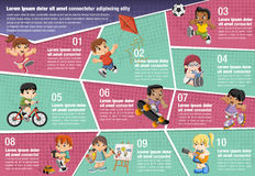 Vector brochure backgrounds with happy cartoon children playing Stock Image