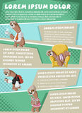 Vector brochure backgrounds with lazy cartoon sloths. Stock Images