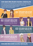Vector brochure backgrounds with manga anime people Royalty Free Stock Image