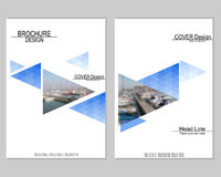 Vector brochure cover templates with blurred seaport. Business brochure cover design. EPS 10. Mesh background Stock Photo