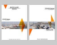 Vector brochure cover templates with blurred seaport. Business brochure cover design. EPS 10. Mesh background Stock Photos