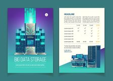 Vector brochure with data storage services. Vector cartoon brochure with server equipment for data processing and storage, cloud services, database, hosting Royalty Free Stock Photos