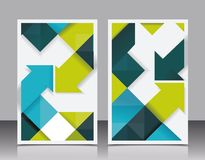 Vector brochure design with cubes and arrows elements. Stock Photography