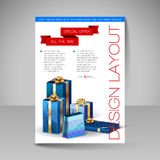 Vector Brochure Design Template with blue Christmas Gifts. Stock Photography