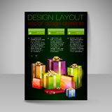 Vector Brochure Design Template with Christmas Gifts. Royalty Free Stock Photo