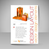 Vector Brochure Design Template with orange Christmas Gifts. Royalty Free Stock Image
