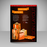 Vector Brochure Design Template with orange Christmas Gifts. Royalty Free Stock Photography