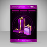 Vector Brochure Design Template with purple Christmas Gifts. Royalty Free Stock Photos