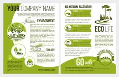 Vector brochure for eco environment company. Ecology and green environment association or company brochure template. Vector design for eco gardening and nature Stock Photography