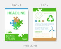Vector brochure eco design template with puzzle royalty free illustration