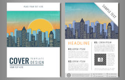 Vector Brochure Flyer design with city landscape. Layout template, size A4, Front page and back page, infographics. Easy Royalty Free Stock Images