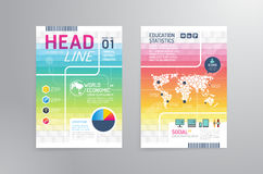 Vector brochure, flyer, magazine cover booklet poster design tem. Plate.layout education annual report A4 size Royalty Free Stock Photo