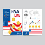 Vector brochure, flyer, magazine cover booklet poster design tem. Plate.layout world business economic annual report set of corporate identity mock-up print Stock Image