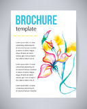 Vector brochure and flyer, poster template with abstract beautiful watercolor flower pink iris, splashes, drops on paper or canvas Royalty Free Stock Image