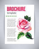 Vector brochure and flyer, poster template with abstract beautiful watercolor flower pink rose. Typography flyer invitation vector Royalty Free Stock Photography