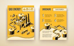 Vector brochure with gas energy plant, refinery stock illustration