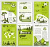 Vector brochure for green nature eco company. Eco environment and green nature landscape company brochure or posters templates. Vector set of ecology trees Royalty Free Stock Image
