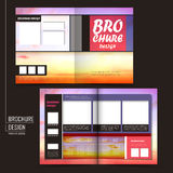 Vector brochure layout design with blurred dusk background Stock Photography