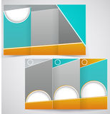 Vector brochure layout design with green and yello. W elements, business three fold flyer template. Illustration Royalty Free Stock Photo