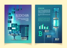 Vector brochure template of blockchain technology royalty free illustration