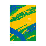 Vector brochure template with colored lines and waves. vector ep. Vector brochure template with colored lines and waves. Three colors concept of Brazil flag Stock Photos