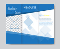 Vector brochure template design with blue elements. Stock Images