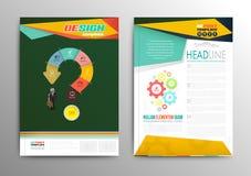 Vector brochure template design business concept question mark. Stock Photos