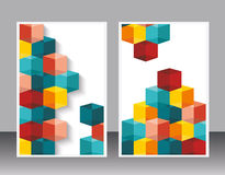 Vector brochure template design with cubes and arrows. Stock Images