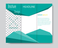 Vector brochure template design with green elements. Royalty Free Stock Photos