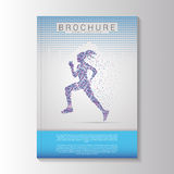 Vector brochure template design with Running girl. Vector Stock Image