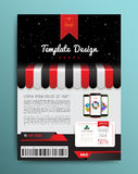 Vector brochure template design with shop and smartphone. Stock Images